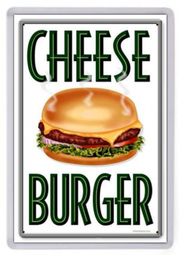 Cheese Burger Fridge Magnet. Retro Diner Sign. Americana. Cheeseburger